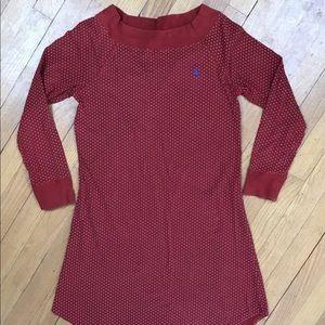 Ralph Lauren Long Sleeve Polka Dot Shirt Dress Red